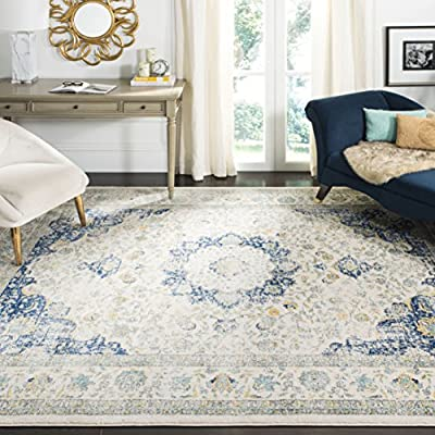 Safavieh Evoke Collection Vintage Oriental Ivory and Blue Area Rug (8' x 10') - High-quality polypropylene pile fiber, known for its legendary durability and endurance, adds longevity to these rugs Refined power-loomed construction allows for an complex design and a virtually non-shedding rug Deliberate weathered look adds a modern and fashion-forward  flair - living-room-soft-furnishings, living-room, area-rugs - 618RaFz5yCL. SS400  -