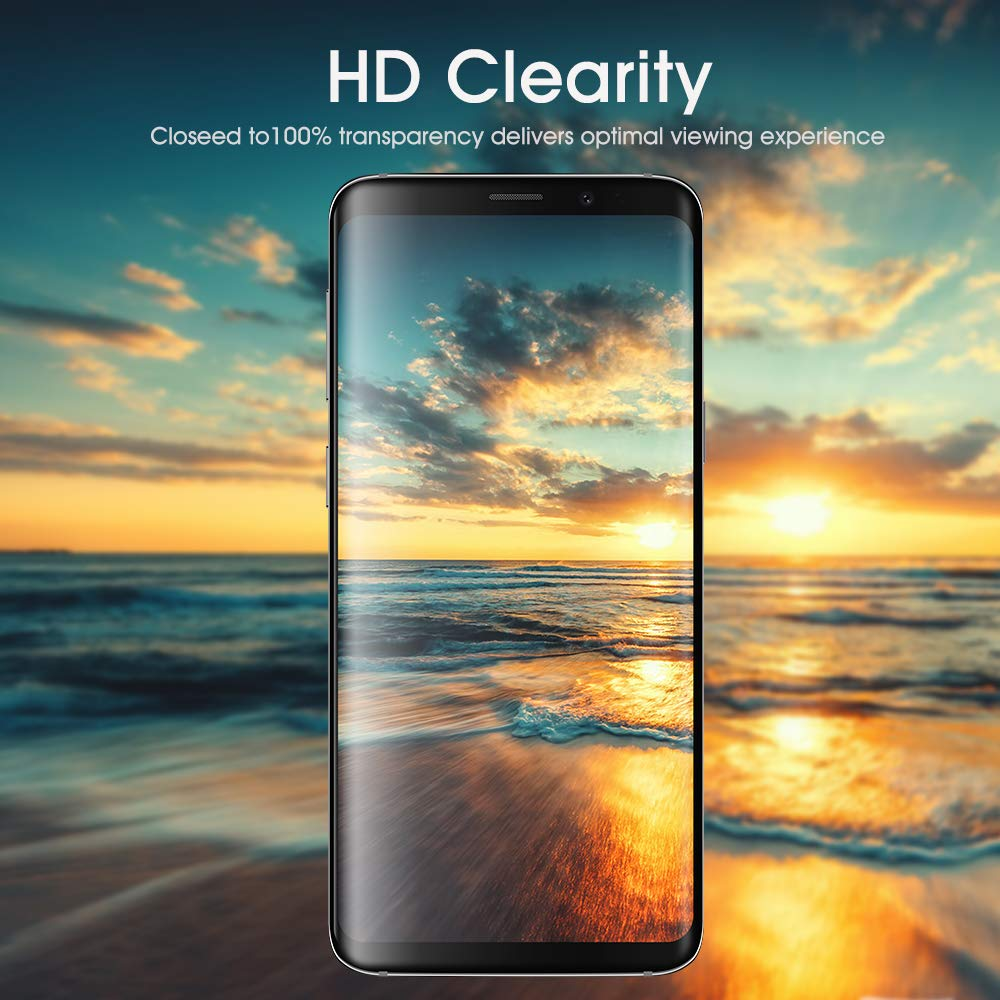 Case Friendly Galaxy S9 Screen Protector Tempered Glass 2 Pack Full Screen Coverage OTAO 3D Curved Dot Matrix Glass Screen Protector for Samsung Galaxy S 9 with Installation Tray
