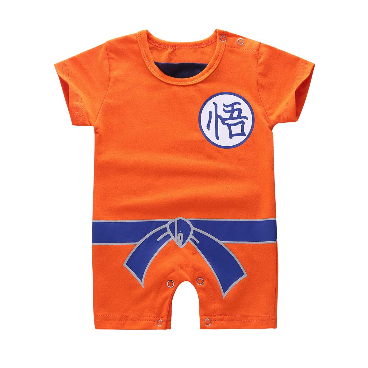 dPois Infant Baby Boy Girls Short Sleeves Bodysuit Chinese Characters and Faux Belt Printed Romper Jumpsuit
