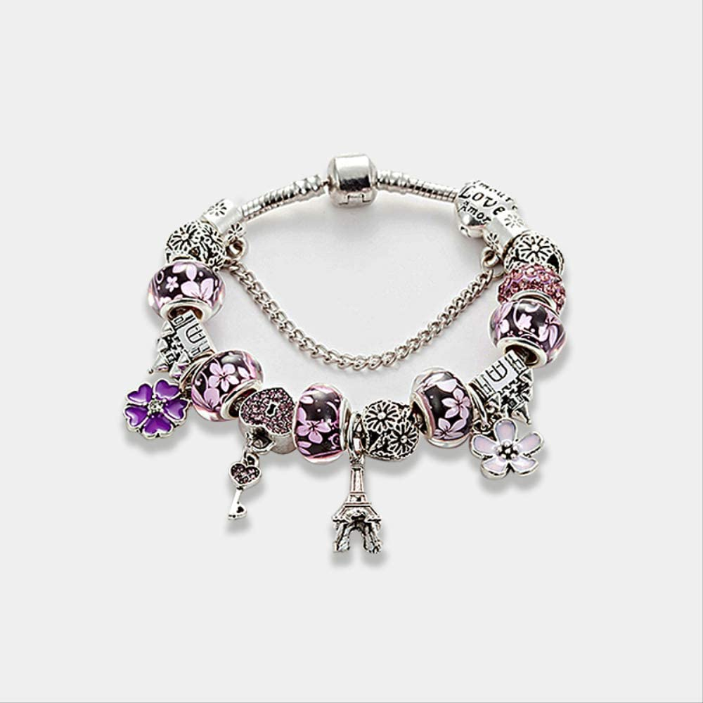 ruofengpuzi Pulseras Glamour para Mujer Pulsera De Plata Antigua con Cuentas De Cristal De Murano Pulsera Pandora Pulsera DIY Jewelry B16008 Púrpura 18cm