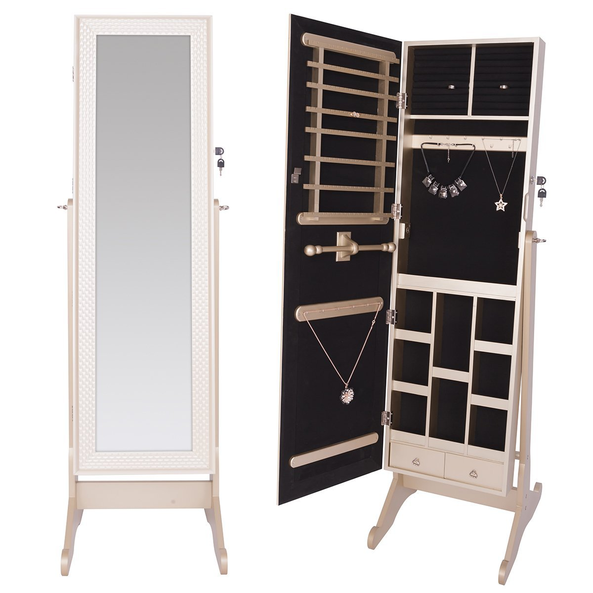 DXP Elegante Schmuckschrank Spiegelschrank Standspiegel ...