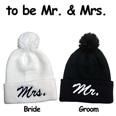 7ef30ad21f962 Image Unavailable. Image not available for. Color  Mr.   MrsPom Pom Beanie  Set Hats Souvenier Gift Unique Bride   Groom ...