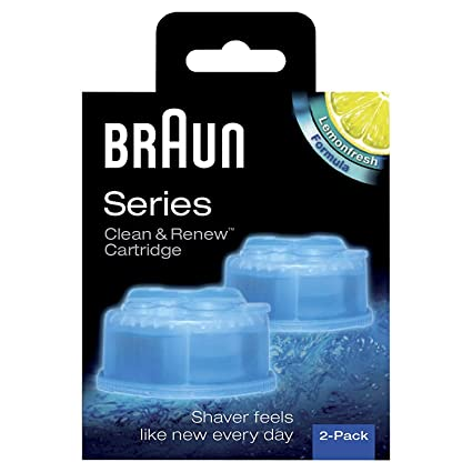 Braun Clean and Renew Cartridge Refills, Pack of 2 (Sky Blue) Razor Blades at amazon