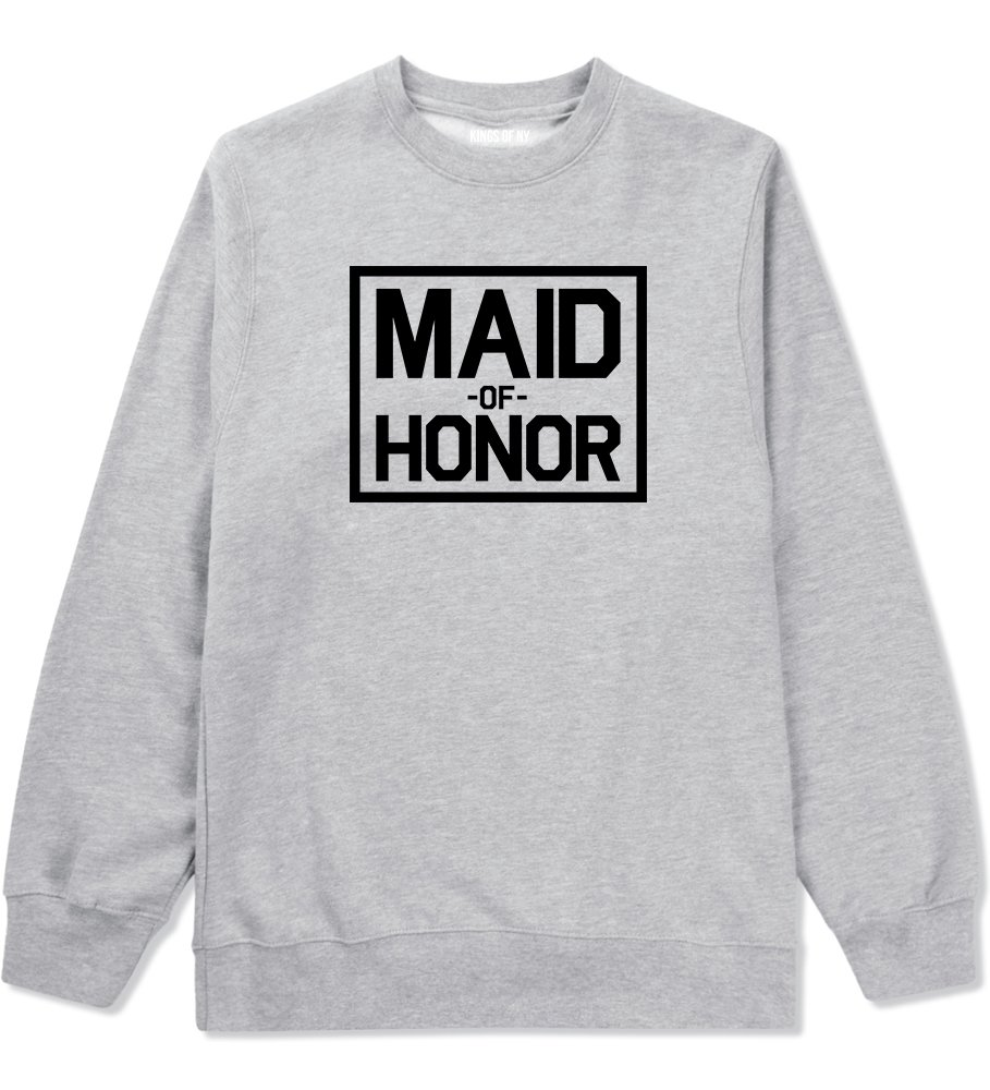 Maid Of Honor Wedding Crewneck Sweatshirt Small Grey
