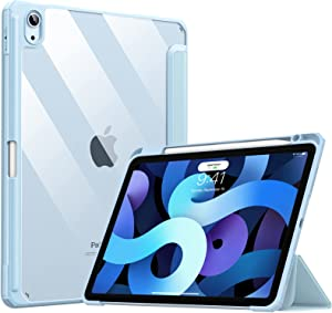 TiMOVO Case for New iPad Air 4th Generation, iPad Air 4 Case (10.9-inch, 2020) with Pencil Holder, Slim Back Protective Case with Clear Transparent Back Shell & Auto Wake/Sleep - Sky Blue