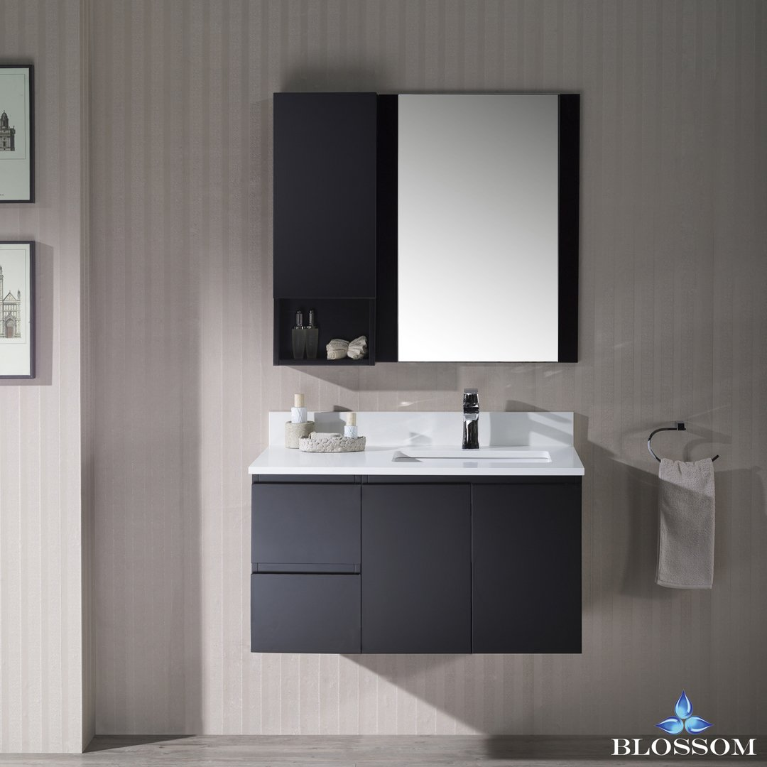 BLOSSOM 000-36-02-R-WH-M Monaco 36'' Wall Mount Right Vanity Set with Mirror and Wall Cabinet Espresso