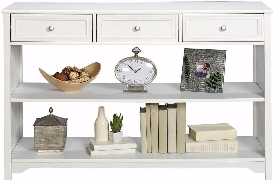 Oxford 47 Inch White Three Drawer and Open Shelf Console Table, THREE-DRAWER, WHITE