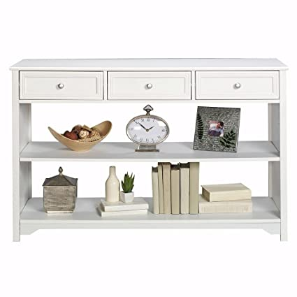 Charmant Oxford 47 Inch White Three Drawer And Open Shelf Console Table, THREE DRAWER ,