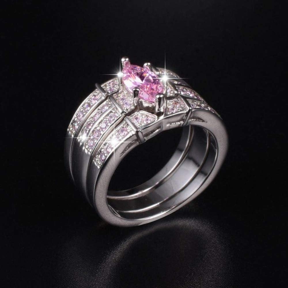 MYLDML Anillo 925 Anillos de Piedras Preciosas de Oro Negro de Plata Finger Lady Anillos de Diamantes Rosados Boda Novia joyería para Mujeres