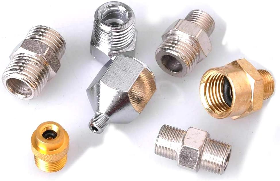 Chiloskit 7pcs Airbrush Hose Adaptor Connector Fitting Set For Compressor to Airbrush Complete Connector Set