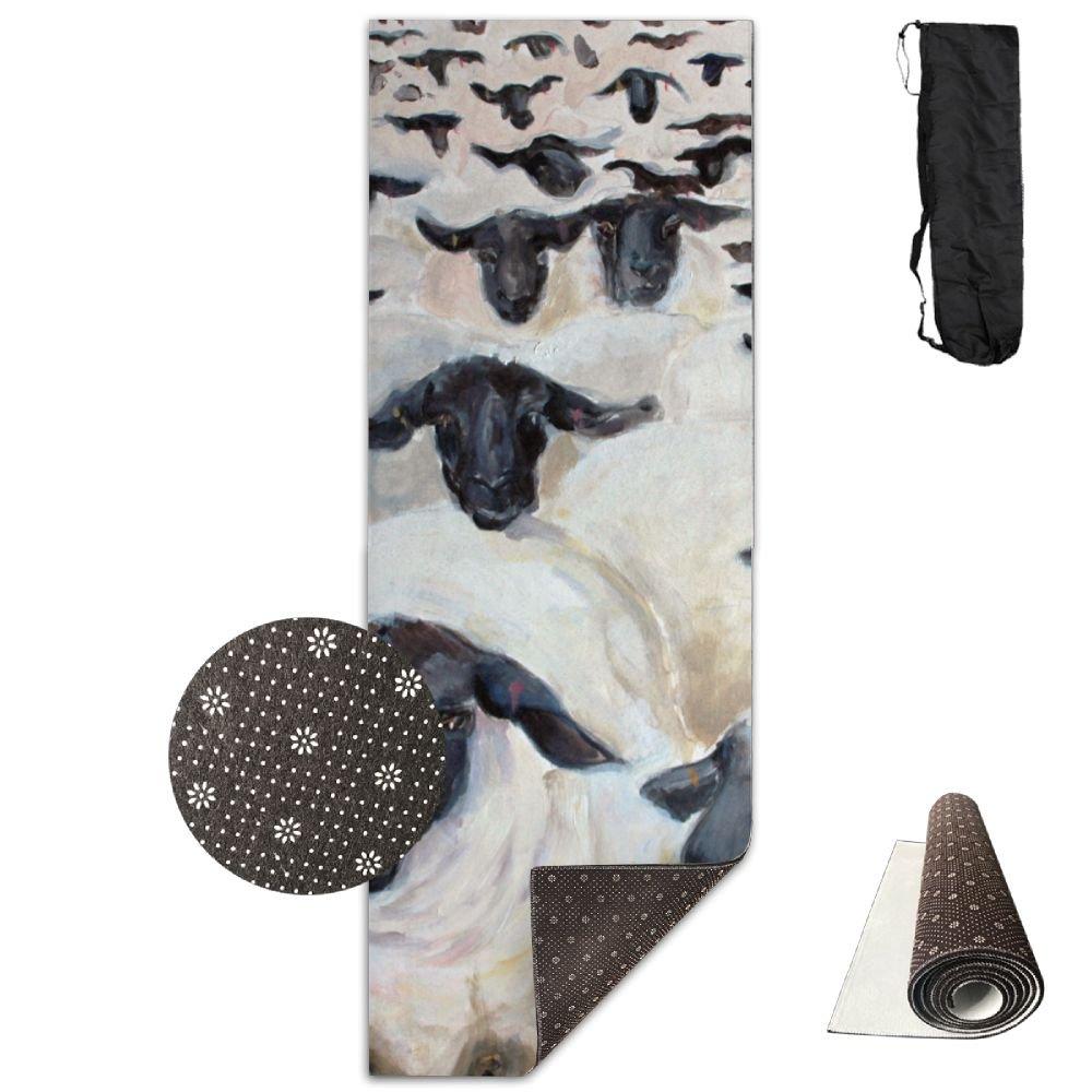 Flock of Sheepヨガマット – 高度なヨガマット – ノンスリップ裏地 – 簡単に掃除 – ラテックスフリー – 軽量、耐久性 – Long 180幅61 cm   B07DLMLVH3