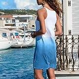 LONGDAY Women Gradient Dress Summer Casual V-Neck