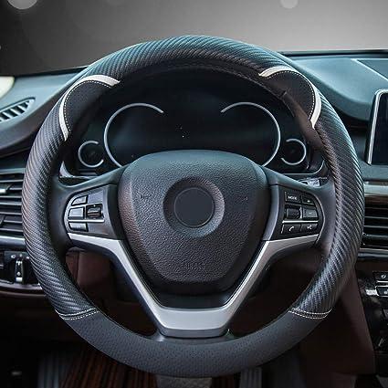 "Black+Red Car Steering Wheel Cover 38cm//15/"" Carbon Fiber Soft Leather Universal"