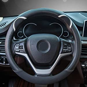 Alusbell Cute Carbon Fiber Steering Wheel Cover Synthetic Leather Auto Car Steering Wheel Cover for Women 15 Inch (Black)