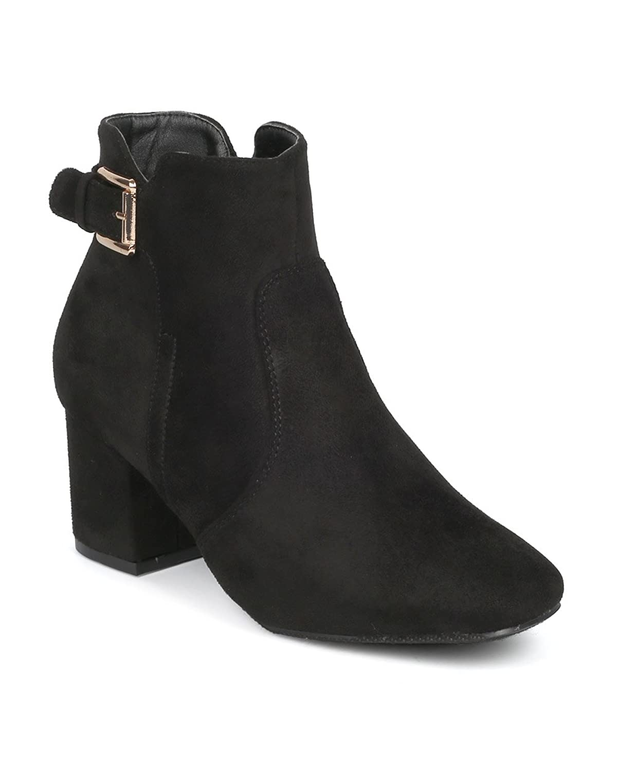 Women's Chunky Block Heel Booties with Adjustable Buckle Strap Cutout Ankle Boots
