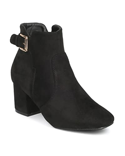 770f6eaf630 WEST COAST Women's Chunky Block Heel Booties with Adjustable Buckle Strap  Cutout Ankle Boots