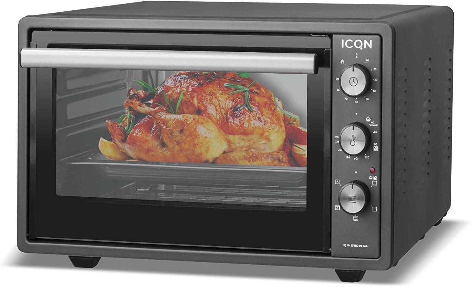 ICQN mini horno con aire forzado | Horno de pizza | Mini horno | Iluminación interior Doble acristalamiento | Función de temporizador | Esmaltado (antracita, 42 litros): Amazon.es: Hogar