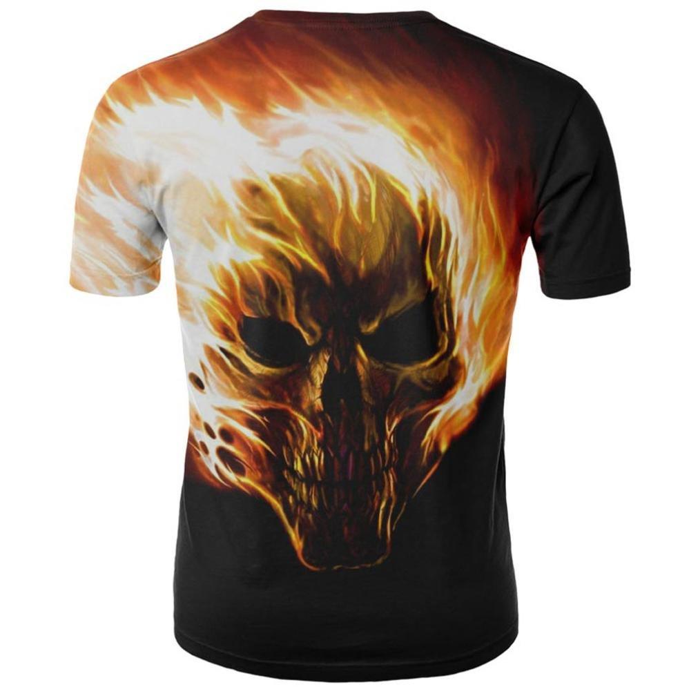 Camiseta para Hombre, Camisa de Manga Corta de la Camiseta de la Manga de la Camiseta de la impresión del cráneo 3D para Hombre: Amazon.es: Ropa y ...