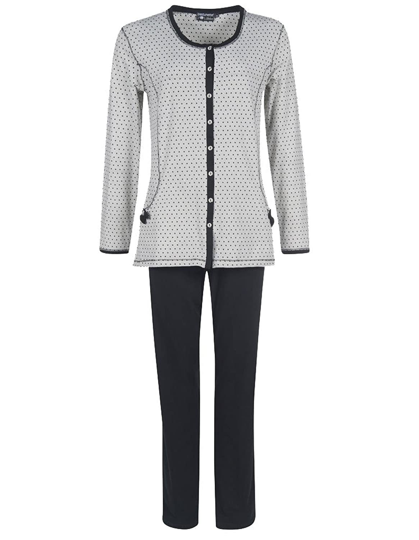 Pastunette Deluxe 2062-336-6-103 Women's Black and White Polka Dot Cotton Pyjamas PJs