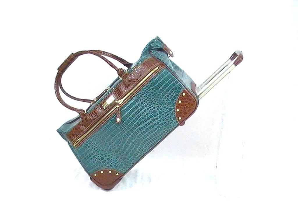 Samantha Brown Croco-Embossed Wheeled Weekender Bag - Seaglass Green by Samantha Brown