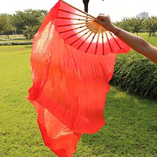 RuiXiang 1.8M Long Dance Fan,Belly Dance Bamboo Fan,Yangko Fan Silk Fan,Square Dance Morning Practice Simulation Silk Fan (red)