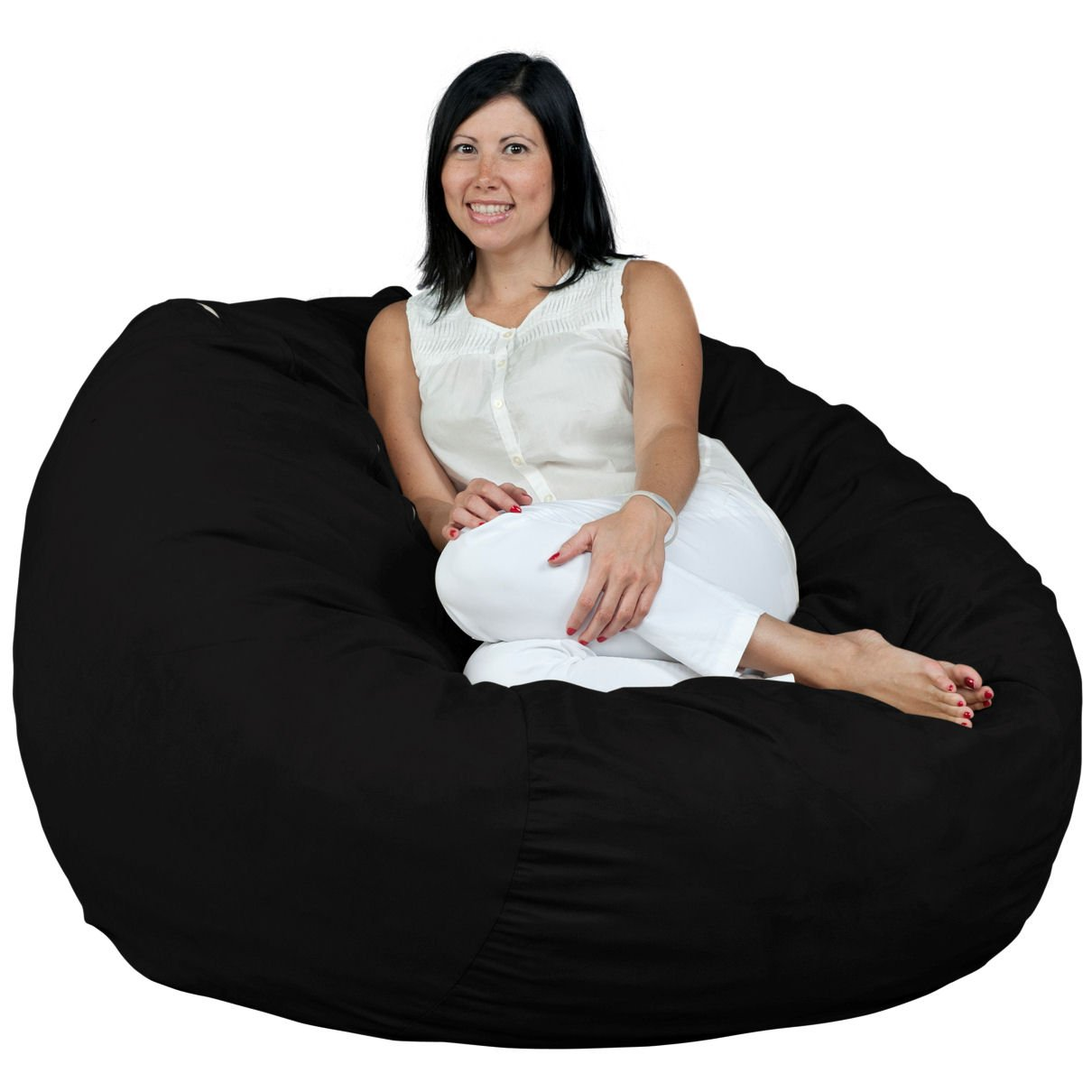 FUGU Bean Bag Chair, Foam Filled, Double Layered Construction, 4 Foot XL Black