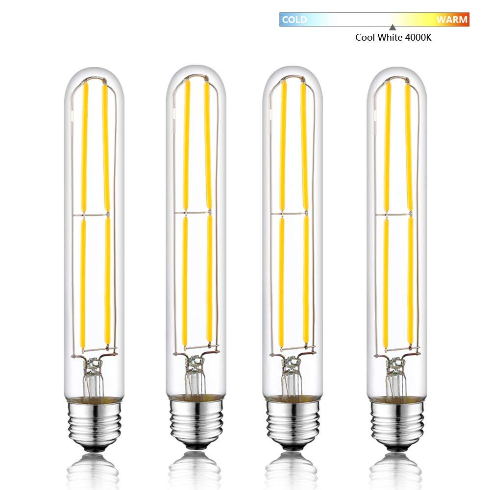 Dimmable Led Tubularb Bulb 6W,T300 Long Tube Edison Led Vintage Filament Bulb,60W Incandescent Equivalent,4000K Daylight White,E26 Medium Base Clear Glass Cover T30 HXMLS T10 . 3-Pack