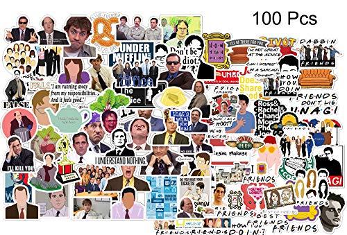 Kilmila The Office & Friends Stickers [100pcs] Memorabilia for TV Show Stickers, Random Vinyl Funny Sticker for Laptop Water Bottle Bike Car Motorcycle Bumper Luggage Skateboard Graffiti