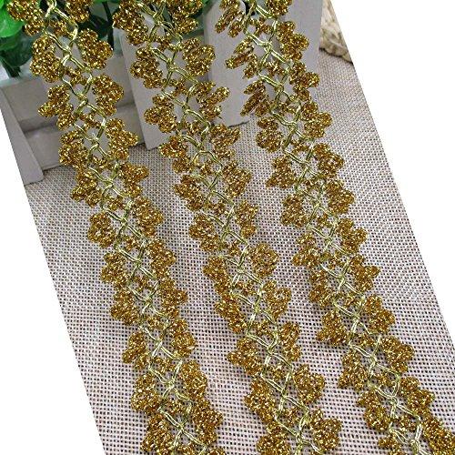 "Metallic Gold Lace Trim Metallic Braid Metallic Ribbon For Weddinng Bridal Home Decor Craft Supply 1"" Wide By 2 Yards"