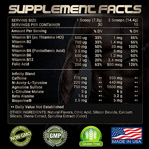 RARI Nutrition INFINITY 100% Natural Pre Workout Powder for Energy, Focus, and Performance No Creatine – No Artificial Flavors or Colors Vegan and Keto 30 Servings