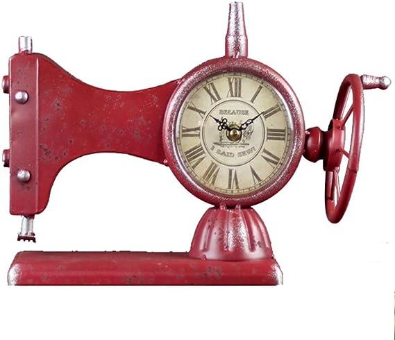 Alarma de máquinas de coser de reloj relojes de hierro estilo retro decoración del hogar, azul, rojo negro , red: Amazon.es: Hogar