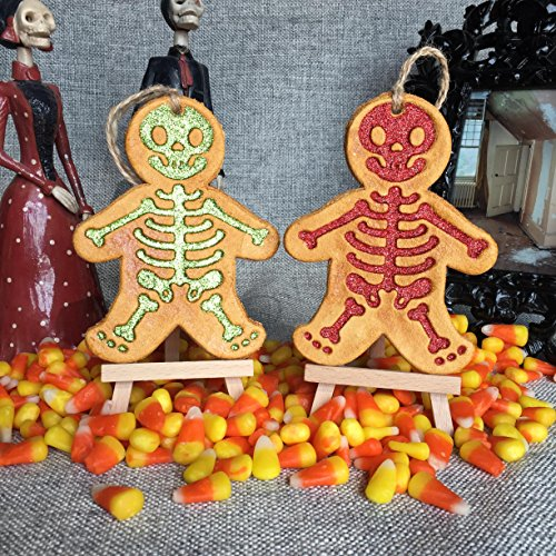 Glitter Skeleton Ornament Red Green glitter. Holiday, Halloween, Christmas, Day of the Dead DOD, or Gift Ornament. Made with flour, water, salt, shellac and glitter. Handmade in San Antonio Texas. for $<!--$16.00-->