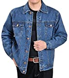 Fulok Mens Classic Rugged Motorcycle Trucker Denim Jean Jacket Coat Denim Blue X-Large