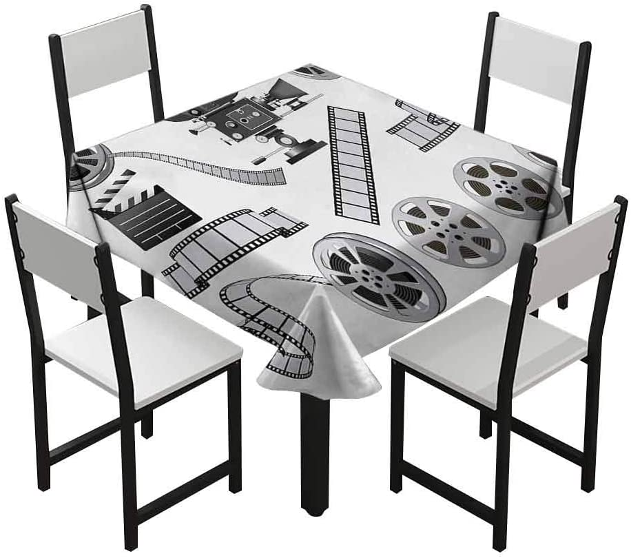 Styles and Sizes of tablecloths Yellow Black White Zara Henry Movie Theater Outdoor Tablecloth Movie Projector Sketch with Grunge Cinema Lettering on Black Backdrop Suitable