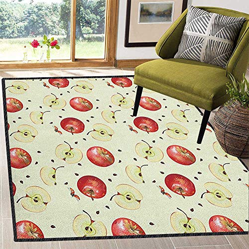 (Apple Natural Fiber Area Rug,Seeds of Winter Fruits Groceries Homeopathic Ingredients with Ladybug Motifs for Hard Floors Cream Ruby Umber 67