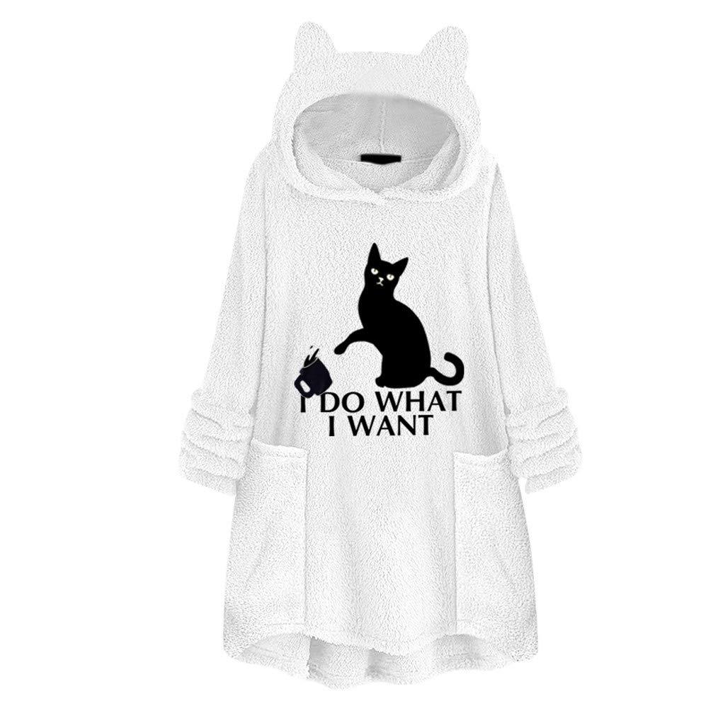 QIUUE Women Cat Ear Hoodies Sweater Fleece Embroidery Pullover Pocket Cute Hooded Sweatshirts Oversize Blouse White by QIUUE