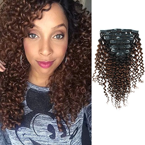 (AmazingBeauty 8A 3B 3C Jerry Curls Ombre Brown Clip in Hair Extensions, Double Weft Remy Human Hair for Black Women, Natural Black Fading into Chocolate Brown, 7 Pieces, 115 Grams,)