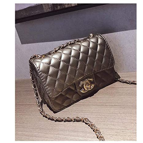 f9367eb5af8e Small Crossbody Purse Lingge Laboy Ladies Handbags Chain Flap Leather  Shoulder Bag -Gray