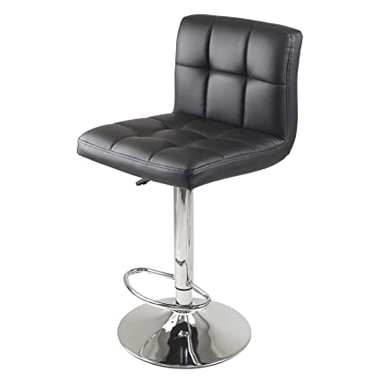 Groovy Winsome Stockholm Air Lift Stool Swivel Square Grid Faux Leather Seat Black Lamtechconsult Wood Chair Design Ideas Lamtechconsultcom