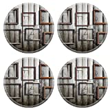 MSD Round Coasters Non-Slip Natural Rubber Desk Coasters design 19524586 Old picture on vintage wood wall