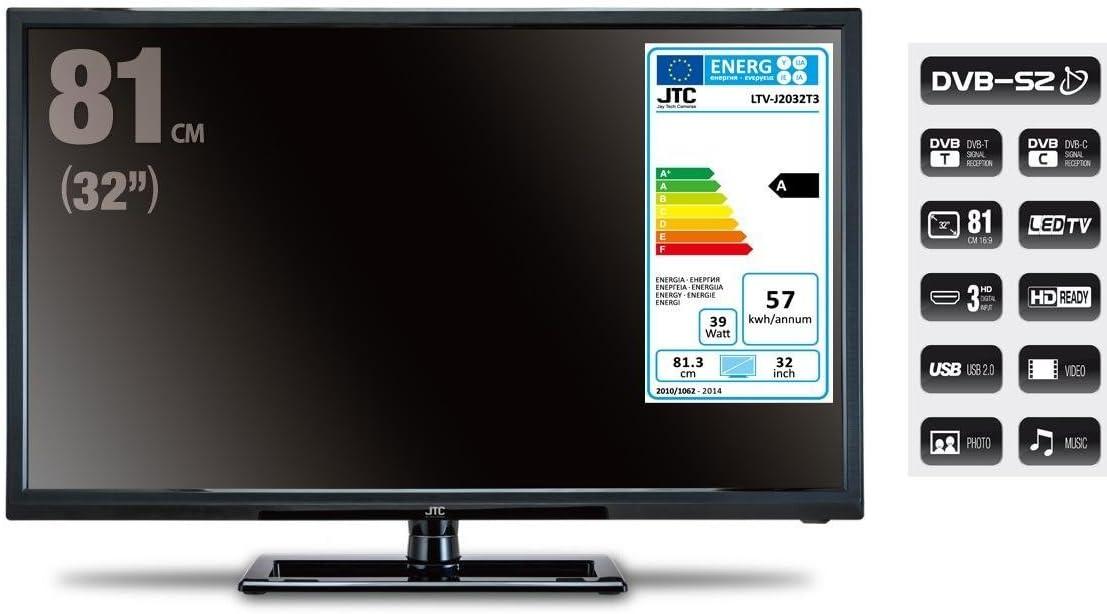 HD LED de televisor JTC 2032tt, 32 pulgadas (aprox. 81 cm) con triple sintonizador incorporado, recibe señales por satélite, cable y DVB-T sin adicional Receptor. Temporizador incorporado, apagado automático, un CI de