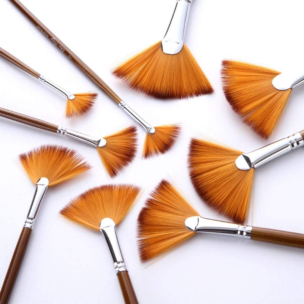 aquarelle Free Size flachsfarben Lot de 9 pinceaux de peinture en nylon souple en forme d/éventail avec manche en bois bicolore pour peinture /à lhuile acrylique