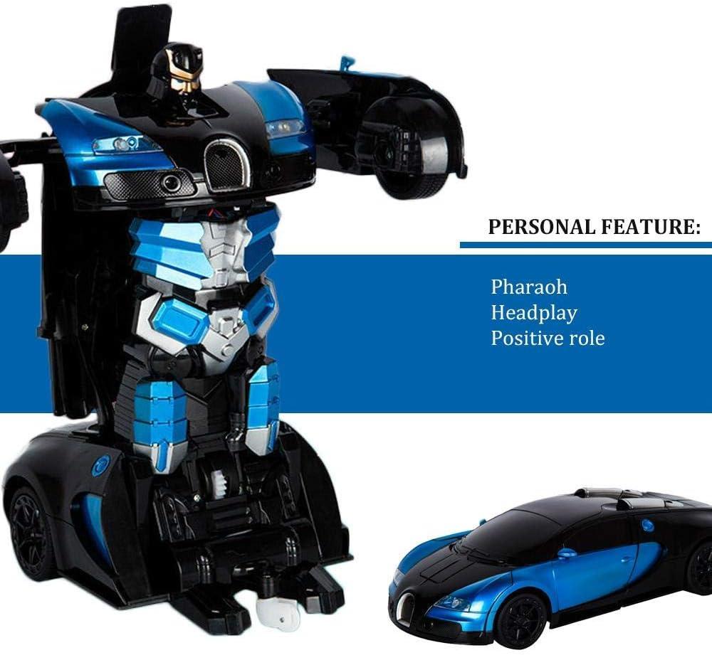 Robot Cars Kit Toy para ni/ños Womdee Coche Teledirigido Coche RC Radiocontrol Transforme Car Toys 360 Grados Giratorio con Deformaci/ón de un Bot/ón con luz LED