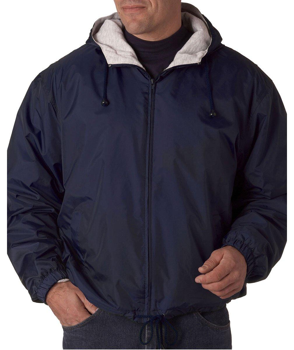 UltraClub Mens Fleece-Lined Hooded Jacket (8915) -NAVY -L