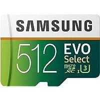 SAMSUNG EVO Select 512GB microSDXC UHS-I U3 100MB/s Full HD & 4K UHD Memory Card with Adapter (MB-ME512HA)