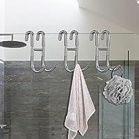 Pynsseu Shower Door Hooks 3 Pack, Bathroom Class Door Hooks for Hanging Towel Coat Rack Hat Rack, Bath Towel Hooks…