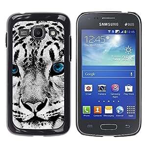 TECHCASE**Cubierta de la caja de protección la piel dura para el ** Samsung Galaxy Ace 3 GT-S7270 GT-S7275 GT-S7272 ** Snow Leopard Winter Big Cat Blue Eyes White
