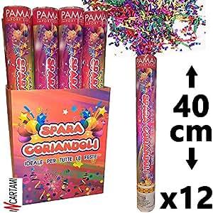 CONF. Cañón Sparacoriandoli Tubo 12 Piezas de Colores Para Fiestas de Cumpleaños Party 40 cm