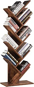 SUPERJARE 9-Shelf Tree Bookshelf, Floor Standing Tree Bookcase in Living Room/Home/Office, Bookshelves Storage Rack for CDs/Movies/Books - Rustic Brown