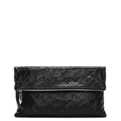 0339f5ddd7 Vivienne Westwood Canterbury Black Leather Orb Embossed Clutch Bag Black  Leather